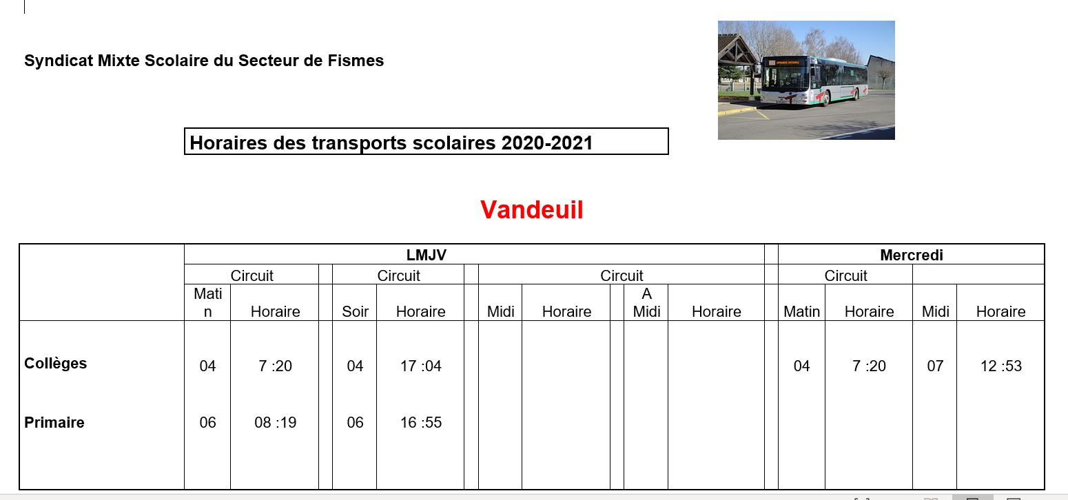 Capture horaires transports 2020 2021